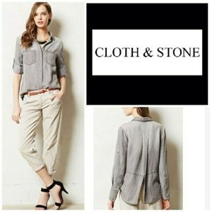 Anthro Cloth and Stone   Cream Button Down Top S